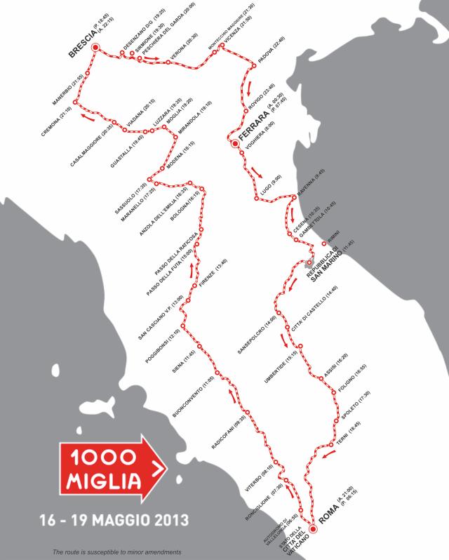 Mille Miglia 2013 Route