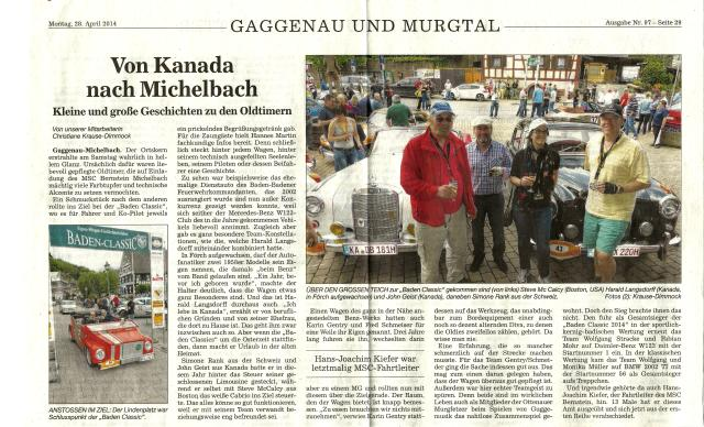 Baden Classic 2014 Newspaper Article