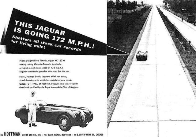 Jaguar XK120 172 Advert at jabbeke