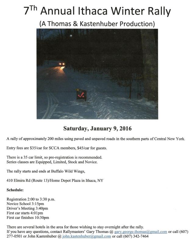 Ithaca Winter Rally Flyer 2016