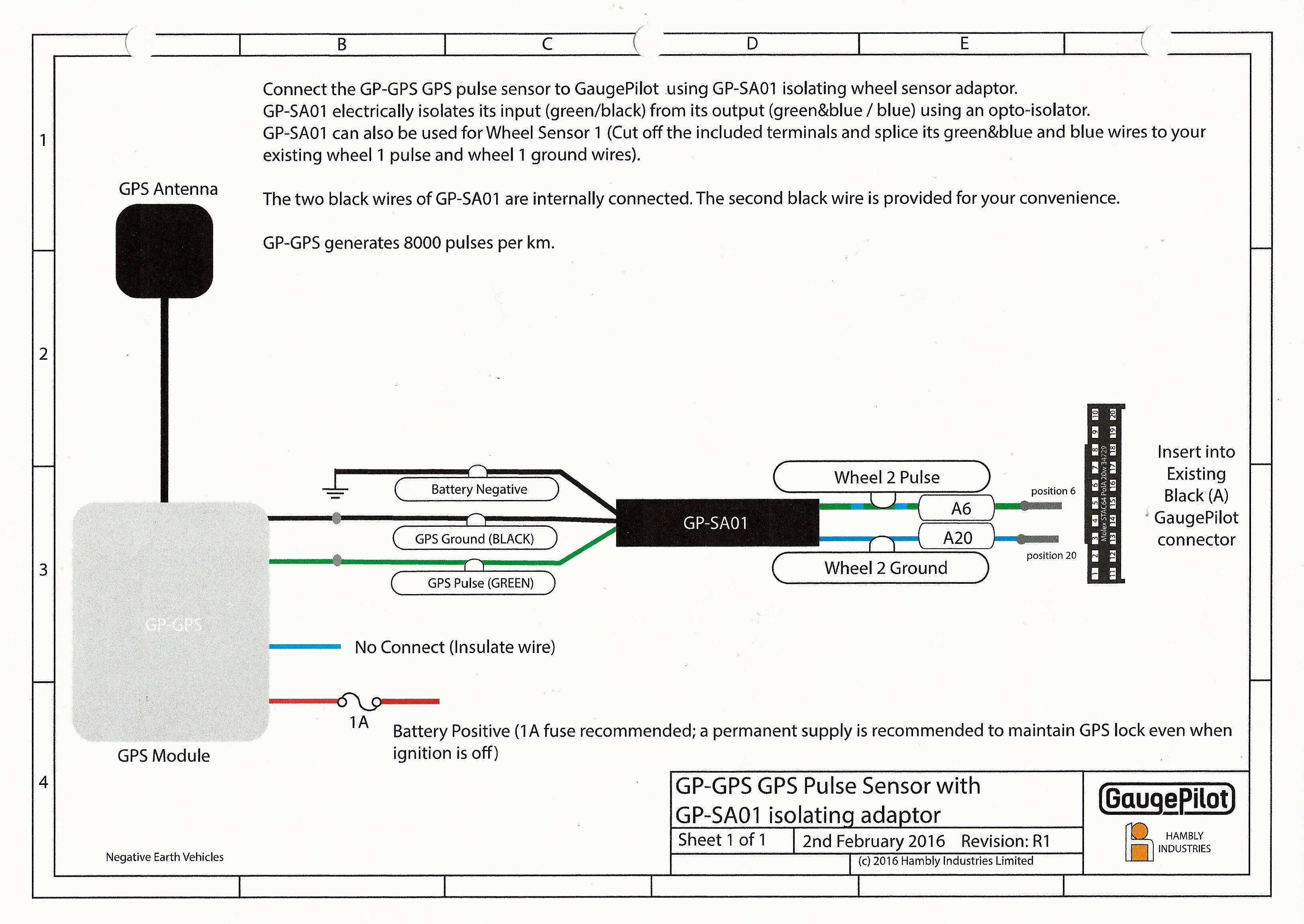 Wiring Diagram For The Gaugepilot Gps Sensor Installation