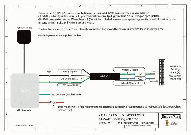 wiring diagram for the gaugepilot gps sensor installation. Black Bedroom Furniture Sets. Home Design Ideas