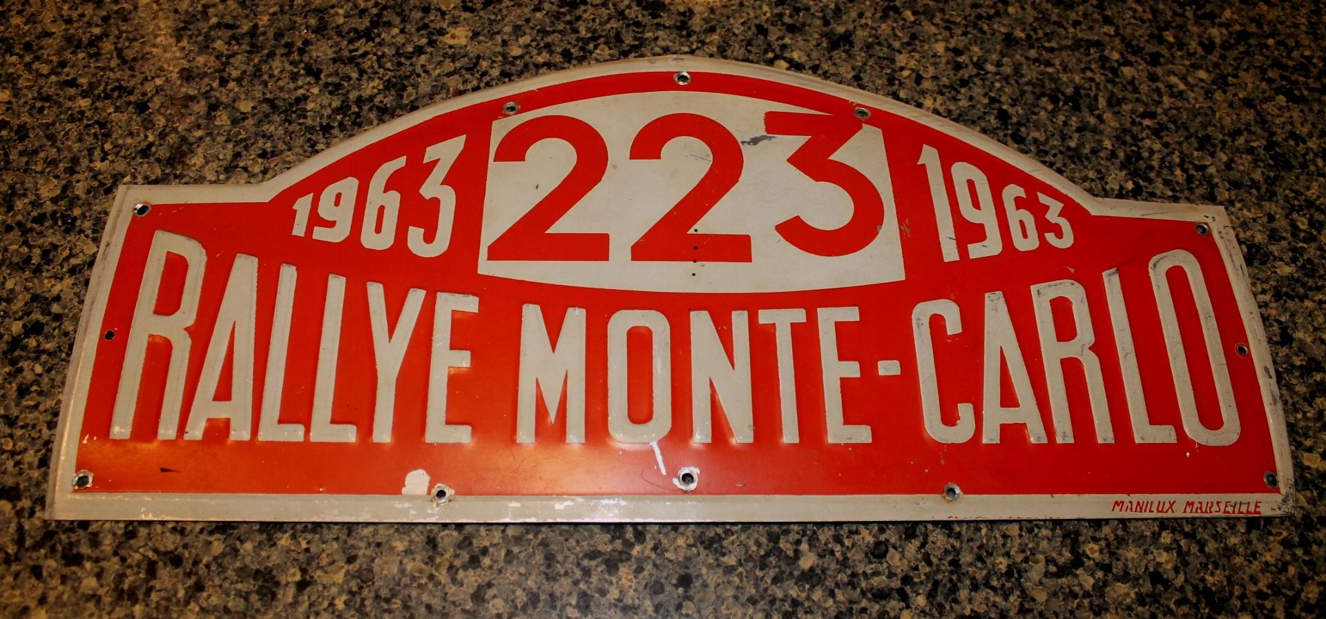 1963 Monte Carlo Rally Plate From Bo Ljungfeldt's Ford Falcon |